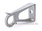 Тип: КП (CS) Предназначен для крепления промежуточных поддерживающих зажимов на опорах Может быть использован для подвеса монтажных роликов при раскатке СИП Изготовлен из коррозионностойкого алюминиевого сплава Крепление к опоре осуществляется болтом диаметром 16 мм или с помощью ленты из нержавеющей стали 20х0.7 мм Стопорные пальцы на крепежном кольце кронштейна ограничивают поперечное смещение зажима при боковых нагрузках