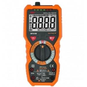Мультиметры цифровые MY64 M Многофункциональный мультиметр со встроенным тестером, функцией подсветки дисплея Поставляется в полимерном защитном кожухе Описание Многофункциональный мультиметр со встроенным тестером, функцией подсветки дисплея Параметры измерений: постоянное напряжение: 600 мВ – 1000 В переменное напряжение: 6 В – 750 В постоянный ток: 60 мкА – 20 А переменный ток: 60 мА – 20 А частотный диапазон: 9.999 Гц – 9.999 МГц сопротивление: 600 Ом – 60 МОм температура: от -20 °C до +1000 °C емкость: