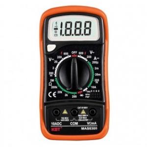 Мультиметры цифровые MAS 830B Компактный мультиметр с ручным выбором пределов измерений, защитным полимерным кожухом, внутри которого расположена откидная подставка для более удобной установки прибора во время работы Описание Параметры измерений: постоянное напряжение: 200 мВ – 600 В переменное напряжение: 200 В – 600 В постоянный ток: 20 мкА – 10 А сопротивление: 200 Ом – 2 МОм коэффициент усиления транзисторов: до 1000 Индикация перегрузки Индикация полярности Индикация разряда батареи Диод-тест Количеств