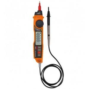 Мультиметр с бесконтактным детектором напряжения MS 8211 Портативный мультиметр с бесконтактным детектором напряжения, выполнен в виде авторучки со встроенным в корпус щупом. Выносной щуп позволяет с легкостью производить манипуляции во время тестирования или прозвонки электрической цепи Описание Параметры измерений: постоянное напряжение: 200 мВ – 600 В переменное напряжение: 2 В – 600 В постоянный ток: 20 мА – 200 мА переменный ток: 20 мА – 200 мА сопротивление: 200 Ом – 20 МОм Определение переменного нап