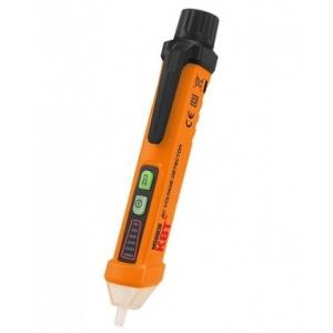 Бесконтактный детектор напряжения MS 8908 Бесконтактный детектор служит для обнаружения скрытой электропроводки, определения наличия напряжения в сети, определения фазной жилы провода. Не требует профессиональных навыков в использовании, компактен и отвечает всем необходимым требования безопасности Описание Чувствительность: 12 В – 1000 В Три режима чувствительности: высокая, средняя и низкая Три режима звукового сигнала и световой индикации Частотный диапазон: 50/60 Гц Режим автоматического отключения пита