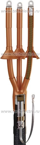Концевые кабельные муфты 3КВТп-10, 3КНТп-10 | Муфта КВТп Муфты термоусаживаемые концевые внутренней и наружной установки на напряжение 6 и 10кВ для 3-х жильных кабелей с бумажной маслопропитанной изоляцией