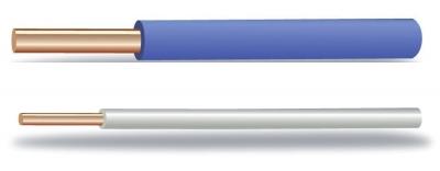 Провод ПВ 1 (ПуВ) до 450/750 В по ГОСТ Р 53768-2010 / ТУ 3551-014-41602515-2011  Провод одножильный с медной жилой, с изоляцией из поливинилхлоридного пластиката (ПВХ), без оболочки.