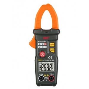 Клещи токовые цифровые MS 2016 Токовые клещи с автоматическим выбором типа и пределов измерений. Прибор с легкостью помещается в кармане рабочей куртки, компактен и прост в использовании Описание Параметры измерений: постоянное напряжение: 0,5 В – 600 В переменное напряжение: 1.0 В – 600 В переменный ток: 10 мА – 200 А сопротивление: до 6 КОм измерение частоты: 40 Гц - 1000 Гц Автосканирование: напряжение/сила тока/сопротивление Определение переменного напряжения бесконтактным способом Режим «прозвонка» Рас